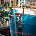 Penzance harbour worker starting to paint a boat, UK