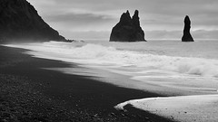 Black Sand Beach #2 (azhukau) Tags: iceland beach blackandwhite monochrome beautyinnature shoreline seascape ocean wave rockobject cloudsky reynisfjara landscape outdoors travel famousplace