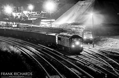 56301 & 56312 | Peak Forest | 7th Dec '18 (Frank Richards Photography) Tags: 56301 56312 gbrf cemex victa rail shunting shunter class 56 group class56 derbyshire dov holes dove buxton peak freight dale nikon night black white light stone db red wagons uk england diesel grids