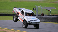 Test Flight (1/2) (Jungle Jack Movements (ferroequinologist)) Tags: matt 83 robby gordon lift off main straight ramp fly stadium super trucks speed energy sydney motorsport park eastern creek nsw new south wales australia us usa america v8 jump air airtime brabham cole potts ingall motor racing race car hottie track practice pole position times timing hard competition competitive sports racer driver engine build fast grid circuit drive helmet marshal starter sponsor number class texas speedway chev chevrolet