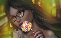 Skylar~Candy.... (Skip Staheli *11 YEARS SL PHOTOGRAPHY*) Tags: skylartrent avatar virtualworld girl cute candy portrait closeup digitalpainting skipstaheli secondlife sl face glasses reflection city