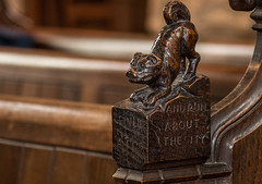 'Grin like a dog and run about the city.'   (1 of 5) (+Pattycake+) Tags: night interior church stmaryswortham closeup woodcarving macro pew suffolk pewends