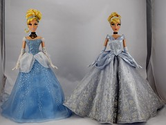 2012 Disney Store vs 2018 Saks Fifth Avenue Cinderella Limited Edition 17 Inch Dolls - Side by Side Comparison - Full Front View (drj1828) Tags: cinderella animated doll limitededition collectible 17inch deboxed groupphoto sidebyside comparison