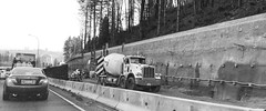 Highway widening in North Vancouver, BC (clearbrook4) Tags: northvancouver monochrome freeway road cars cementtruck construction traffic