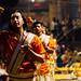 Men Performing Evening Aarti Ceremony, Varanasi India