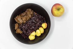 Traditional beef stew with apple beetroot salad and potato dumplings - top view (verchmarco) Tags: diet food closeup delicious isolated fresh background healthy white lebensmittel noperson keineperson gesund apple apfel nutrition ernährung fruit obst health gesundheit köstlich diät sweet süss meal mahlzeit breakfast frühstück refreshment erfrischung bowl schüssel nahansicht tasty lecker cooking kochen desktop lunch mittagessen plate teller fish christmas animals sunshine colorful boeing india balance lights duck