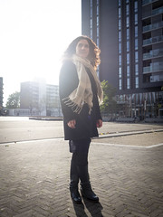 Laura, Amsterdam 2018: Halo of light (mdiepraam) Tags: laura amsterdam 2018 zuidas portrait pretty attractive beautiful elegant classy gorgeous dutch brunette girl woman lady naturalglamour curls coat scarf backlight square boots