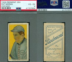"1909-11 / T206 White Border - PAT MORAN (Catcher) - Chicago ""National"" Cubs (PSA Certified) (1910 / Piedmont 350 / 25 Back) Tobacco / Cigarette Baseball Card (#334) (Treasures from the Past) Tags: t206 tobaccocard tobacco 1909 1911 cigarette cigarettecard americantobaccocompany whiteborder whiteborderset baseballcard lithograph whiteborderbaseballset t206baseballset patmoran chicagocubs catcher psacertified"