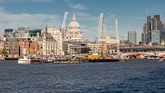 Saint Paul's and Friends (string_bass_dave) Tags: unitedkingdom thamesriver thames england london church crane saintpaulscathedral boat construction river flickr christopherwren bushey gb