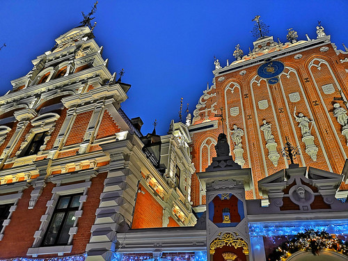 House of Blackheads in Old Town of Riga, Latvia. January 15, 2019