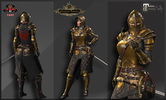 TSC Battle Warden Golden (Maitreya Bento) (Topa Adamski) Tags: secondlife armor fantasy medieval knight maitreya zbrush substancepainter tsc warrior larp plate platemail