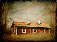 old days, a poor cottage........ (BirgittaSjostedt) Tags: antique ancient architecture beautiful beauty blossom building chimney color cottage country countryside forest home house idyllic landscape lifestyle nature meadow nordic north northern old outdoor red rural scandinavia scape scenic summer sunny sweden traditional typical texture art fineart paint painting canvas