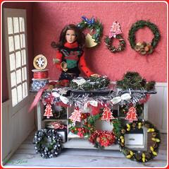 7.advent day - advent calendar with dolls (Mary (Mária)) Tags: christmas christmastree wreaths winter doll barbie octopussy jamesbond fashion diorama room indoor handmade mattel miniatures marykorcek