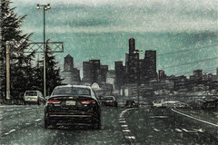 Rollin' Into Town (p) (davidseibold) Tags: america cityscapephotography drivebyphotography jfflickr kingcounty painting photosbydavid plant postedonfb postedonflickr seattle streetlight tree unitedstates usa vehicle washington