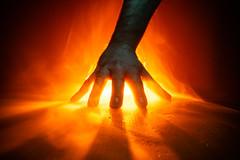 Fired Up. (FadeToBlackLP) Tags: lightpainting longexposure lightart lightpaintingbrushes hand fingers spread backlight hot orange