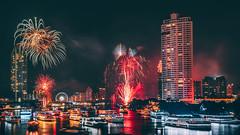 Bangkok New Year Fireworks [Explored January 17, 2019] (Iftakhar Hasan) Tags: asia thailand bangkok saphantaksin chaophrayariver newyearcelebration newyearfireworks fireworks night city river longexposure sony sonyα6300 sonyepz18105mmf4goss