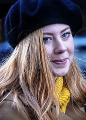 Portrait (D80_526827) (Itzick) Tags: denmark copenhagen candid color colorportrait streetphotography scarf blonde beret youngwoman smile portrait face facialexpression d800 itzick
