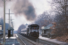 NJT 4171 Ridgewood, NJ. 1-12-1984 (jackdk) Tags: train railroad railway locomotive ge gelocomotive geu34ch u34ch njt newjerseytransit newjersey ridgewood station passengertrain standardcab