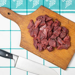 Flat lay above sliced beef meat on the cutting board thumbnail