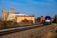 City of Lights (BravoDelta1999) Tags: amtrak amtk californiazephyr 5 burlingtonnorthernsantafe bnsf railway chicagoburlingtonandquincy cbq railroad chicagosubdivision aurora illinois ge p42dc 204