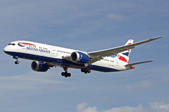 British Airways Boeing 787-9 Dreamliner G-ZBKM (Paul's Aircraft and Transport Images) Tags: british airways boeing 787 9 dreamliner landing london runway 27l heathrow lhr myrtle avenue hatton cross united kingdom great britain england wings cockpit ba air airport airlines uk union jack