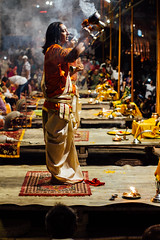 Men Dancing Aarti, Varanasi India (AdamCohn) Tags: adam cohn ganga ganges india uttarpradesh varanasi aarti ceremony fire ghat night smoke streetphotographer streetphotography wwwadamcohncom adamcohn