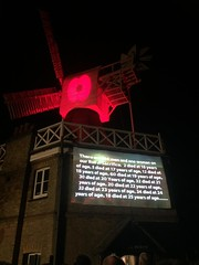 Stats of ages and the numbers of men that age who died from the local areas. (maggie jones.) Tags: london peace walk candles evening people putney roehampton ww1 lest we forget poppy