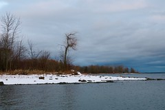 Pointing south... (deanspic) Tags: paddleon winter point shore stlawrenceriver clouds trees g3x