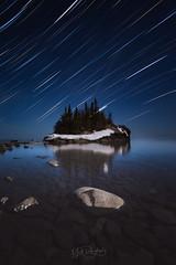 Tombolo in Time (matthewdaugherty@yahoo.com) Tags: landscape seascape longexposure lake minnesota stars starscape superior starphotography astrophotography startrails
