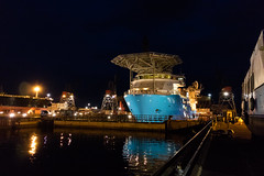 Forza behind the Seal (SPMac) Tags: canon m3 denmark fayard munkebo odense maersk supply service forza mt6022 dry dock night lights seal gate illumination blue