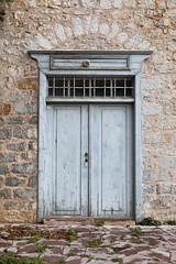 Gray Door (mopics347) Tags: door island hydra greece idra doorway outdoor stone gray grey light blue lightblue weathered