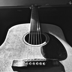 """""""Stood Up"""" (Halvorsong) Tags: bw monochrome blackandwhite music instrument guitar lines shadow shadows composition contrast usa nashville art halvorsong explore discover frame mood americana texture textured wood classic vintage old oldschool song"""