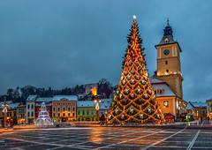 Christmas is coming (George Nutulescu) Tags: brasov building buildings blue architectural architecture architectureandcities city church color cityscape colors clouds downtown evening fortress gothic history historic house historical home kronstad longexposure landscape light lamp medieval mountain nikon night nightshot old older place panorama romania reflection sky travel town tower transylvania tree urban vertorama view christmas