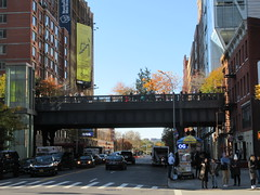 High Line Overpass to Nowhere Park 4715 (Brechtbug) Tags: high line overpass nowhere park highline 2018 new york city nyc 11112018 street former rail road garden path walk way elevated el remodeled derelict urban reclamation boardwalk skyway pedestrian balcony mezzanine streets midtown downtown meat packing district west side manhattan transportation design redesign architecture art gallery overgrown railroad tracks fall autumn profile view 23rd st