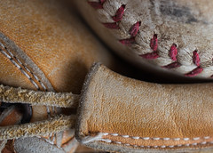 catcher's mitt and ball (f8shutterbug) Tags: idb macromondays hobby baseball mitt ball leather stitches texture