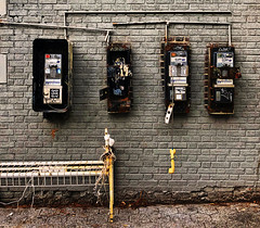 Payphones (Alexander H.M. Cascone [insta @cascones]) Tags: nyc newyorkcity newyork ny brooklyn parkside train metro subway station phone payphone pay old vintage decay unused disregarded garbage off hook street wall bricks urban oldschool