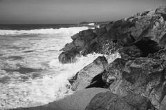 Rabat - Rocky Atlantic Shore In Monochrome (Modkuse) Tags: 50mmzeiss rabat rabatmorocco ocean oceanwaves atlantic atlanticocean morocco monochromefromkodachrome monochrome bw blackandwhite nature natural landscape waves art artphotography photoart fineartphotography fineart contax contaxrangefinder contaxii contaxrangfinder