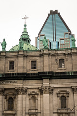 Old and new (jcbmac) Tags: urban oldandnew cathedral green xt20 foreign fuji newbuilding montreal stonebuilding canada september walk