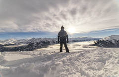 First sunset of 2019 (mystero233) Tags: sunset sun dusk me ski skiing alps europe nature wildkogel slope snow winter white clouds sky blue landscape outdoors outdoor human pose person mountain mountains hills high