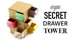 Origami Secret Drawer Tower Tutorial - DIY - Paper Kawaii (paperkawaii) Tags: origami instructions paperkawaii papercraft diy how video youtube tutorial