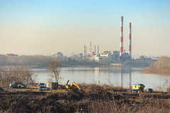 Construction site at the riverbank (man_from_siberia) Tags: autumn october constructionsite construction powerplant river riverside riverbank tomriver kemerovo canon dslr canoneos1dsmarkii canonef80200mmf28l russia россия сибирь siberia кемерово