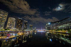 Moonlit Wharf (Jared Beaney) Tags: canon canon6d australia australian photography photographer travel melbourne docklands southwharf wharf reflections reflection night moon moonscape city cityscapes habour dock victoria