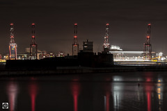 A Fort Night in New Brighton. (alundisleyimages@gmail.com) Tags: newbrighton wirral liverpool fortperchrock liverpool2containerterminal marinelake reflections cranes shipping maritime ports harbours industry lighttrails longexposure night england uk weather fort defence