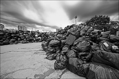 garbage_strike_queen_sherbourne_03_bw_8779980710_o (wvs) Tags: bags garbage streets strike textures urban toronto ontario canada can