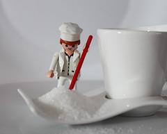 Mr Sugar (Argyro Poursanidou) Tags: macromondays brew macro sugar tea cup white playmobil still life toy