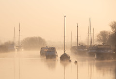 Morning Mist (Vanannlin) Tags: wareham riverfrome mistymorning yachts cormorant colourfulsky mist canon 5diii 70200f28lens landscape atmospheric tranquil dorset