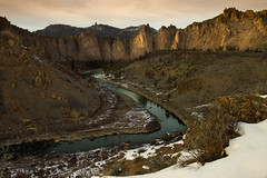 Crooked River, Oregon (Bonnie Moreland (free images)) Tags: mountains cliff rock river sunset trees snow oregon winter crookedriver