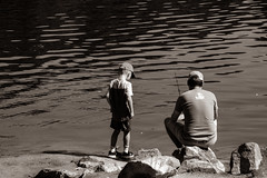 Father and Son by Kathi Isserman (Maryland DNR) Tags: 2018 photocontest recreation summer blackandwhite father son dad kids family fishing anglers centenniallake howardcounty lesson