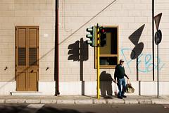 S/N (luigi_cinque) Tags: street streetphotography shadow landscape architecture wall traffic semaforo light old man fuji fujifilm