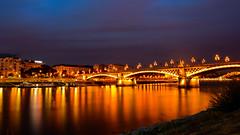 Margaret bridge and Danube river (BenedekM) Tags: margaretisland budapest danube river city cityscape view longexposure clouds cloudy flow lights architexture captital hungary